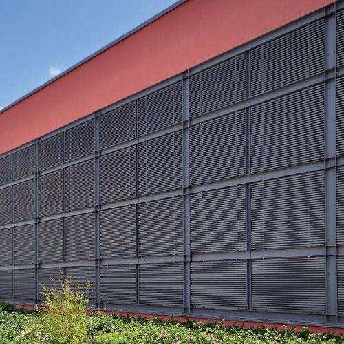 revestimiento de fachada de aluminio / de escayola / de aleación / acanalado