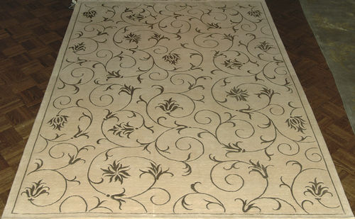 alfombra oriental / de flores / de lana / rectangular