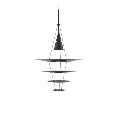 lámpara suspendida / contemporánea / de aluminio / de acero inoxidable