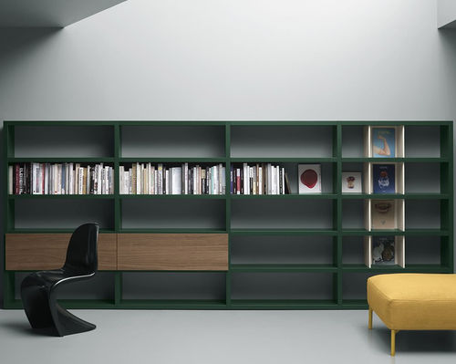 biblioteca moderna / de madera lacada