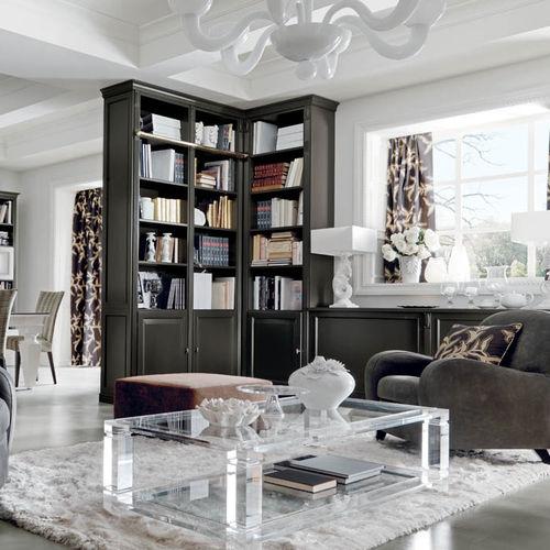 mesa de centro clásica / de vidrio / rectangular / de interior