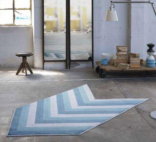 alfombra contemporánea / de rayas / hecha a mano / a medida