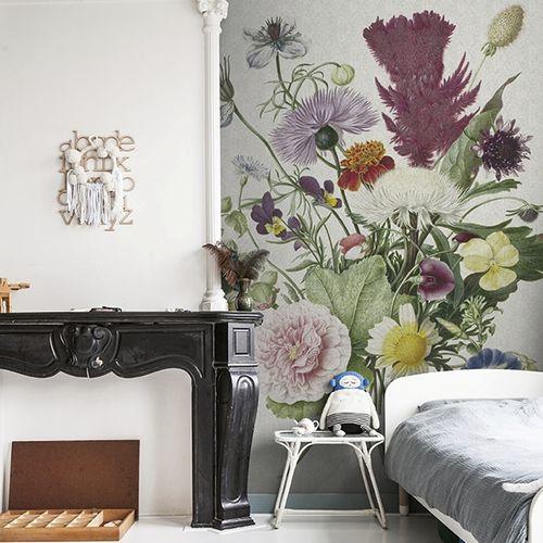 papel pintado clásico / de textil no tejido / con motivos florales / aspecto tela