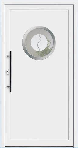 puerta de entrada / abatible / de aluminio / semividriada