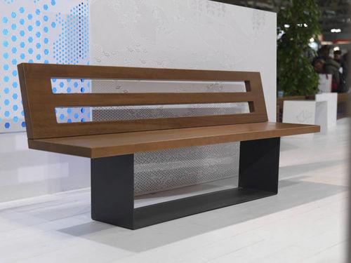 banco público / contemporáneo / de madera exótica / de acero galvanizado