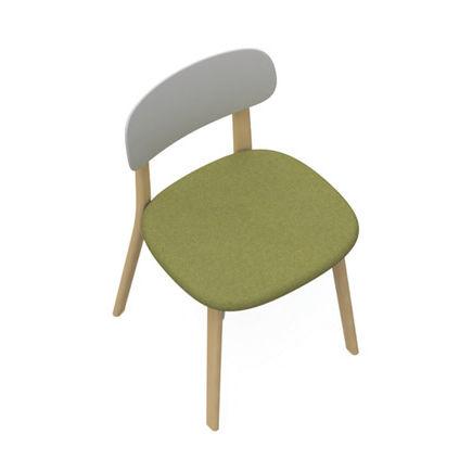 silla contemporánea / tapizada / madera / de plástico