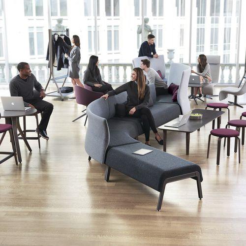 banqueta modular / contemporánea / de tejido / para el sector servicios
