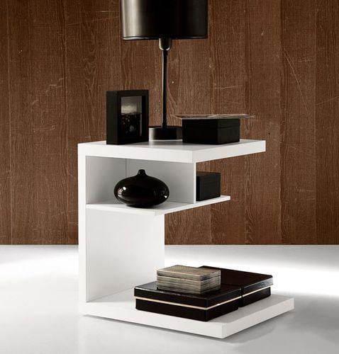 mesilla de noche moderna / de nogal / rectangular