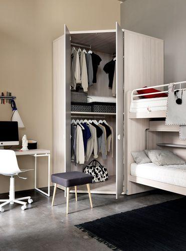 armario de esquina / moderno / de madera / con puertas batientes