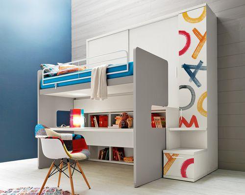 cama alta / individual / moderna / para niños