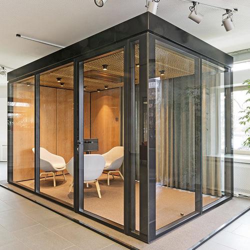 tabique amovible / de vidrio / de aluminio / para open space
