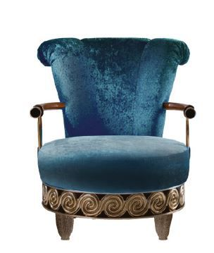 sillón de estilo / de terciopelo / azul