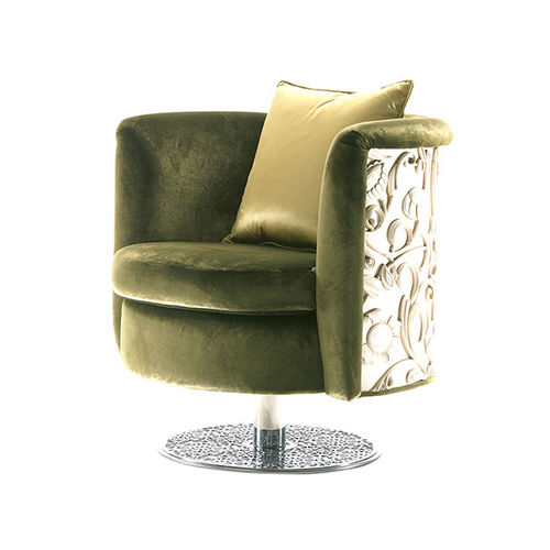 sillón clásico / de metal / de tejido / con base central