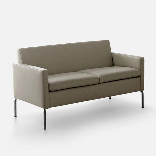 sofá compacto / contemporáneo / de cuero / de metal
