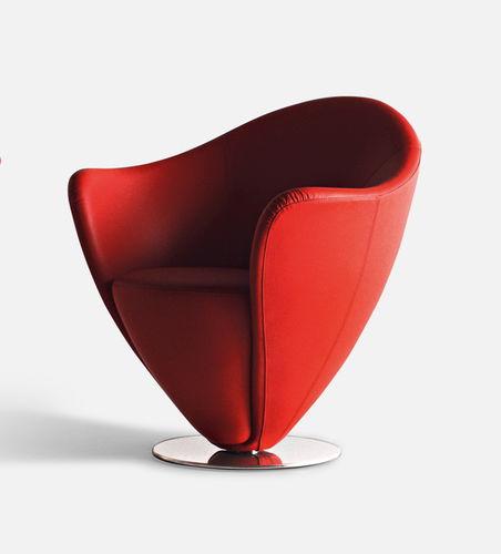 sillón de visita contemporáneo / de tejido / de cuero / de acero cromado
