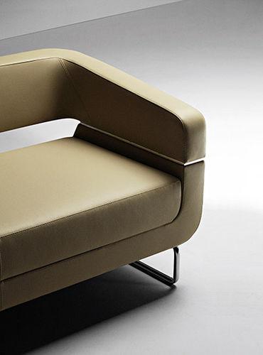 sofá contemporáneo / de cuero / de metal / de tejido