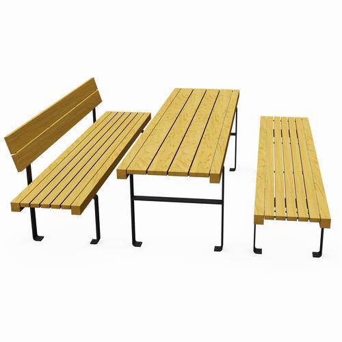 mesa de pícnic contemporánea / de madera / con base de acero galvanizado / rectangular