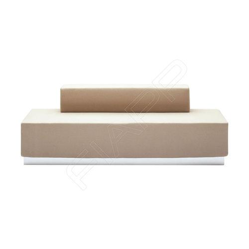 banqueta modular / contemporánea / de cuero / de madera
