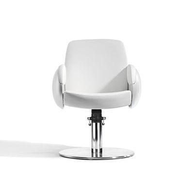 sillón de peluquería de tejido / con base central / con bomba hidráulica / blanco