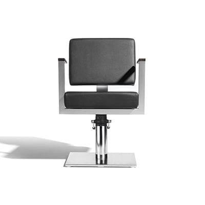 sillón de peluquería de tejido / con base central / con bomba hidráulica / negro