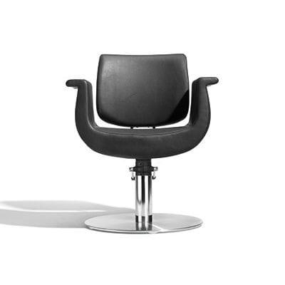 sillón de peluquería de tejido / con base central / con bomba hidráulica