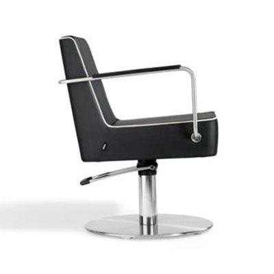 sillón de peluquería contemporáneo / de acero inoxidable / de cuero artificial / con base central