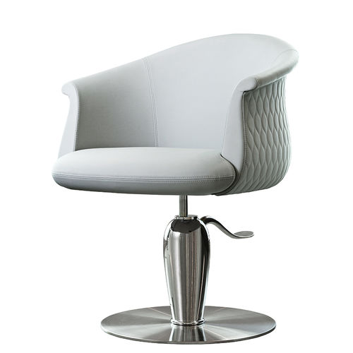 sillón de visita contemporáneo / de cuero / con bomba hidráulica / con base central