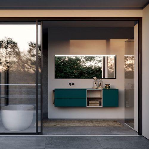 mueble de lavabo doble / suspendido / de material compuesto / de melamina