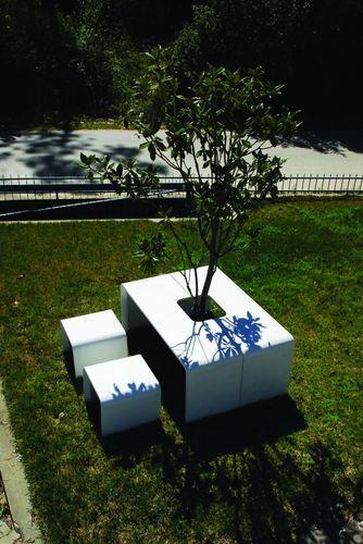 mesa de pícnic contemporánea / de hormigón / de acero inoxidable / rectangular