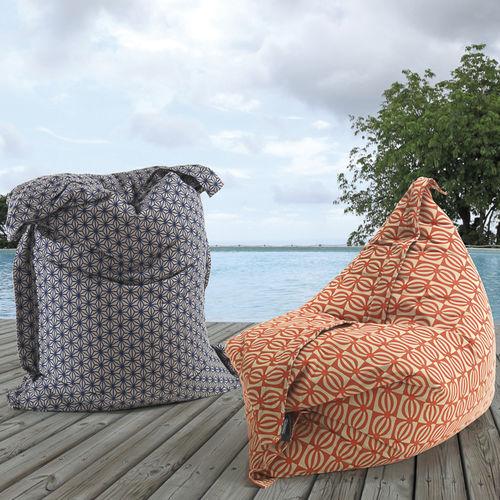 sillón pera moderno / de tejido / gris / azul