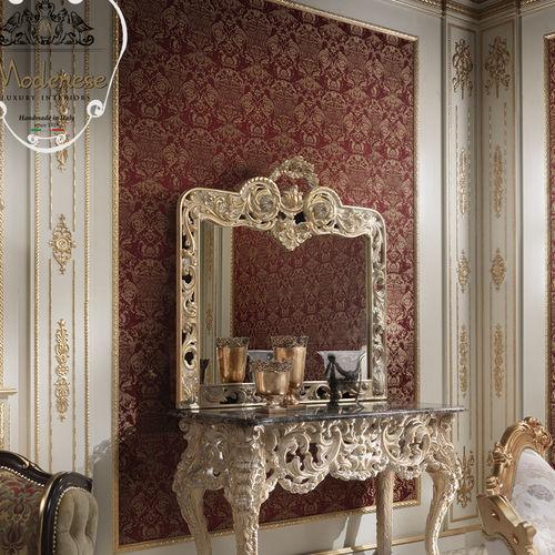 espejo de pared / de diseño nuevo barroco / rectangular / para hotel