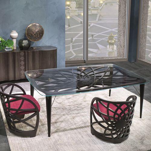 mesa de comedor contemporánea / de madera / de vidrio / rectangular