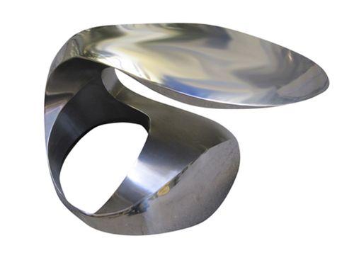 mesa de centro de diseño original / de acero inoxidable / redonda / ovalada