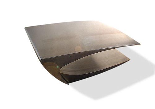 mesa de centro de diseño original / de acero inoxidable / rectangular / de interior