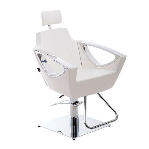 sillón de peluquería de aluminio / de cuero artificial / giratorio / con reposapiés