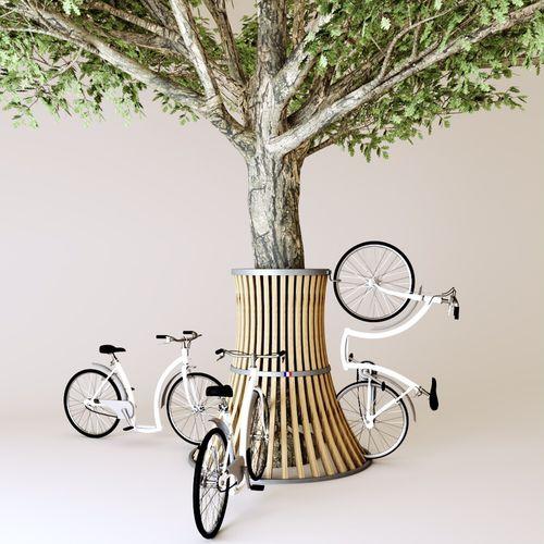 aparcabicis de acero galvanizado / de madera / de diseño original / para espacio público