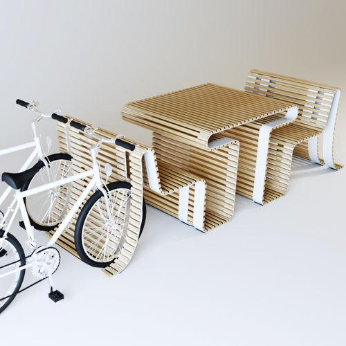 mesa de pícnic moderna / de madera / de acero galvanizado / curvada