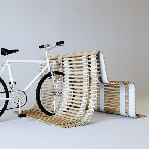 banco público / moderno / de madera / con aparcabicis integrado