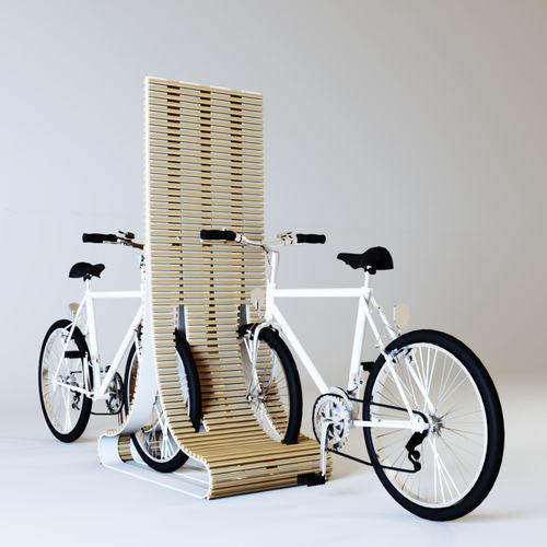 aparcabicis de madera / de diseño original / para espacio público