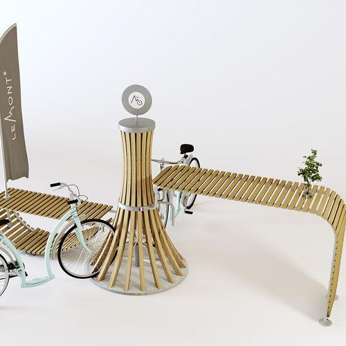 aparcabicis de acero galvanizado / de aluminio / de madera / de diseño original