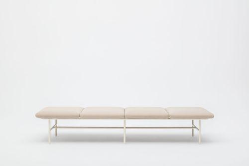 banqueta modular / contemporánea / de tejido / de acero con revestimiento en polvo