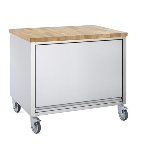 mesa de preparación para sándwiches / de haya / de acero inoxidable / con almacenamiento