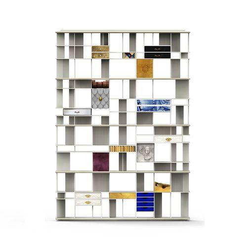 biblioteca modular / alta / de diseño original / de madera lacada
