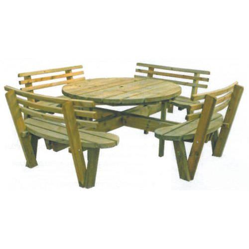 mesa de pícnic contemporánea / de madera / redonda / para espacio público