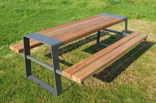 mesa de pícnic contemporánea / de madera / de acero galvanizado / de acero inoxidable