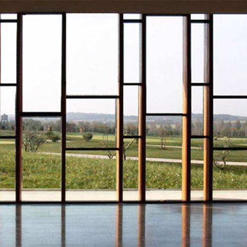 muro cortina de paneles / de madera / espejo