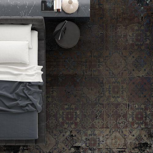alfombra moderna / con motivos / de poliamida / redonda