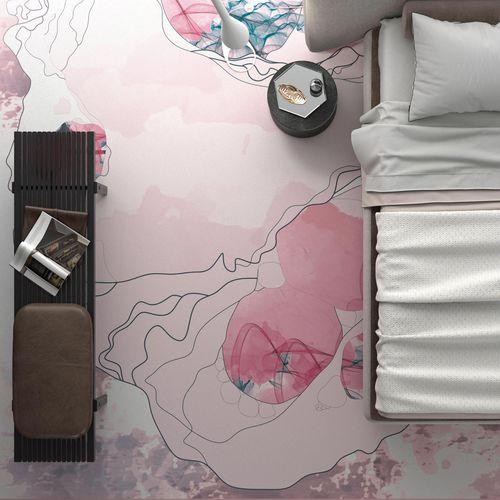 alfombra contemporánea / con motivos geométricos / multicolor / rectangular