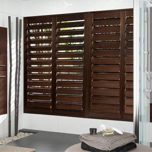 contraventana de lamas / fija / de madera / para ventana