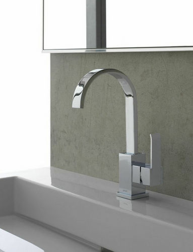 grifo monomando para lavabo / de metal cromado / de níquel / mecánico